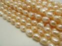 Říční perly růžové 6x5 mm šňůra perel č.10