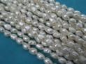 Říční perly bílé 8x5 mm šňůra perel č.7