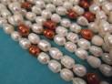 Říční perly bílé s tmavě hnědou 11x7 mm ...