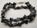Snowflake obsidian necklace 47 cm with c...