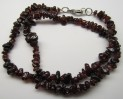 Red garnet necklace 47 cm with carabin c...