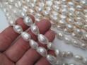 Říční perly bílé extra 13/15x10 mm šňůra perel č.6