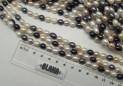 Říční perly bílé-černé 9x6/7 mm šňůra perel č.5