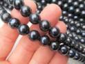 Říční perly černé kulaté 10/11 mm šňůra perel č.13